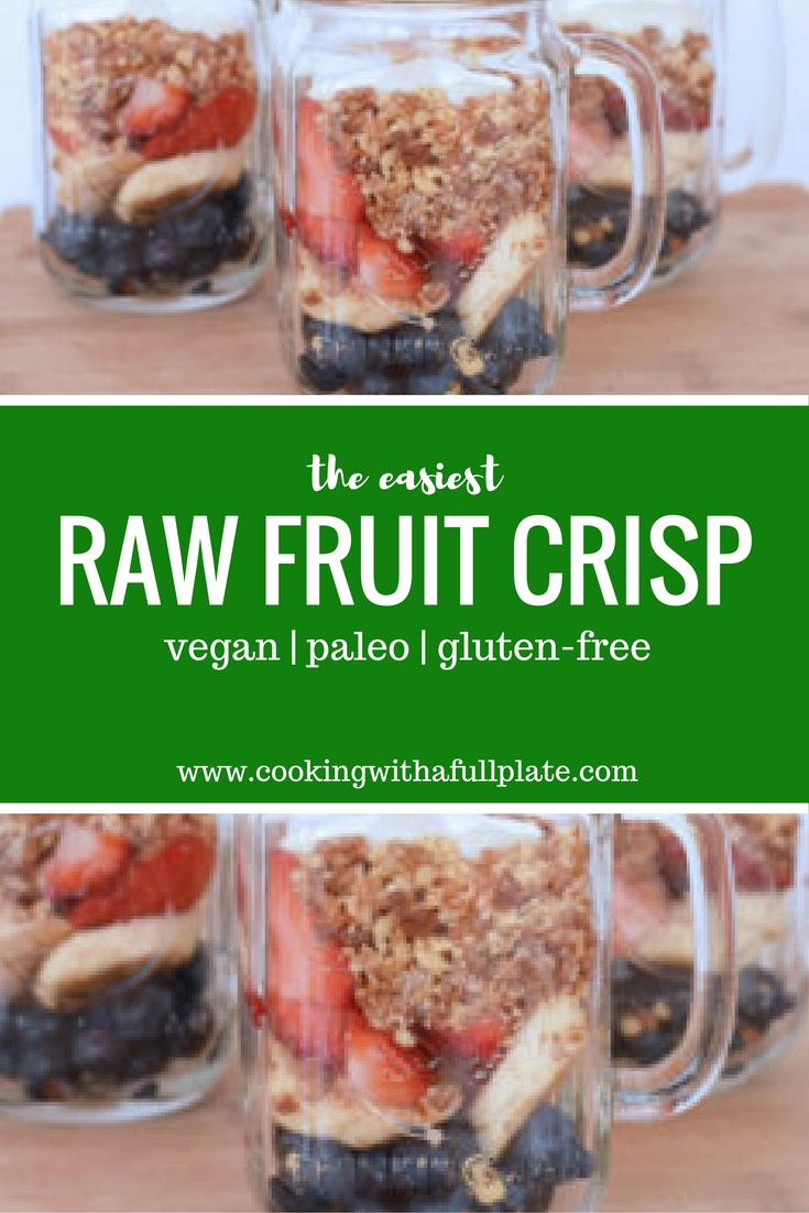 The raw fruit crisp is super healthy, easy to make, and flexible. Make it with berries in the summer or apples in the fall! This one is naturally sweetened, vegan, and paleo friendly. Click through for the recipe and my musings on healthy dessert.