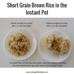 Short Grain Brown Rice in the Instant Pot