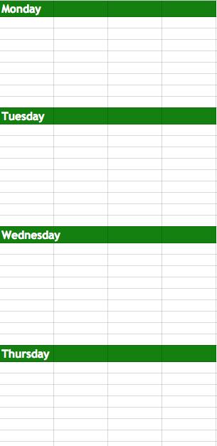 Game Plan Spreadsheet
