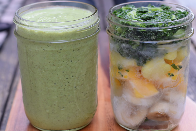 Make Ahead Green Smoothie Pack Before and After