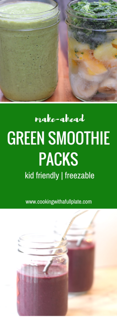 Green smoothie packs are an easy make ahead option that take just seconds to make! Empower your whole family to eat healthier. Green Smoothie Packs | Make Ahead | Freezable | Gluten Free | Paleo| Vegan